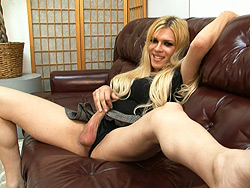 Humiliation tease solo. Exciting tranny Jesse talking dirty and playing with herself