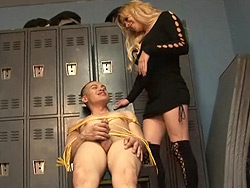 Locker room. Naughty Jesse mouth make love a tied up guy