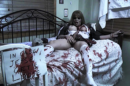 Zombie school girl. Cuffed TS zombie Jesse jerking