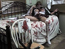 Zombie school girl. Cuffed zombie Jesse struggling
