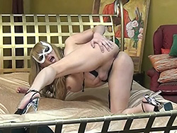 The making of masked fantasy. Dirty Jesse spreading her juicy bum