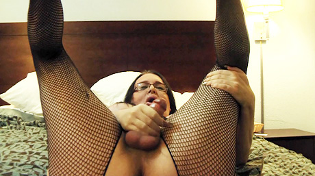Skype cumshot show. Lustful Wendy masturbating in stockings